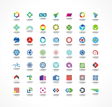 Set of icon design elements  Abstract ideas for business company  Finance, communication, eco, technology, science and medical concepts  Pictograms for corporate identity template  Vector