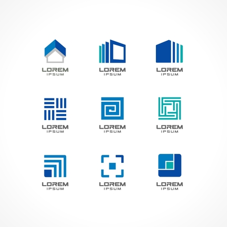 Set of icon design elements  Abstract ideas for business company  Building, construction, house, connection, technology concepts  Pictograms for corporate identity template  Stock Illustratio  Vector  Vector