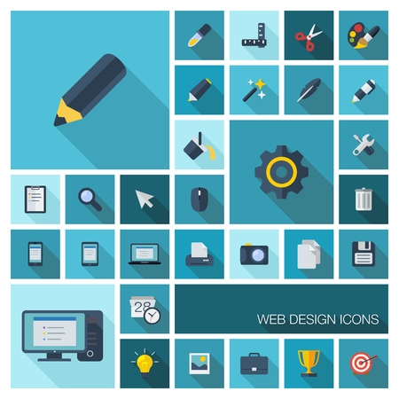 Vector illustration of flat color icons with long shadow  Graphic tools set for web, application development, computer, mobile apps, internet, interface design  Pencil, brush, cogwheel, grid symbol  Vector