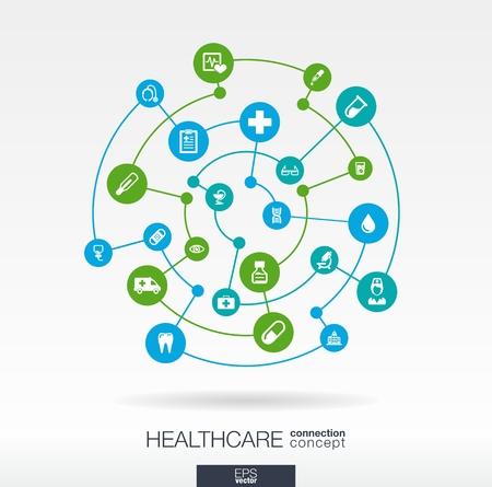 건강: 건강 연결 개념입니다. 의료, 건강, 의료, 의학, 네트워크, 소셜 미디어 및 글로벌 개념에 대한 통합 된 원과 아이콘으로 추상적 인 배경입니다. 벡터 인
