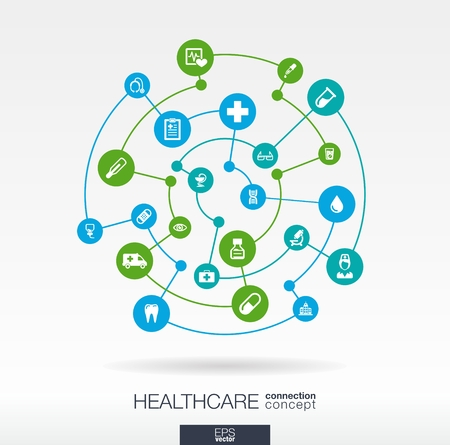 health technology: Healthcare connection concept. Abstract background with integrated circles and icons for medical, health, care, medicine, network, social media and global concepts. Vector infographic illustration.