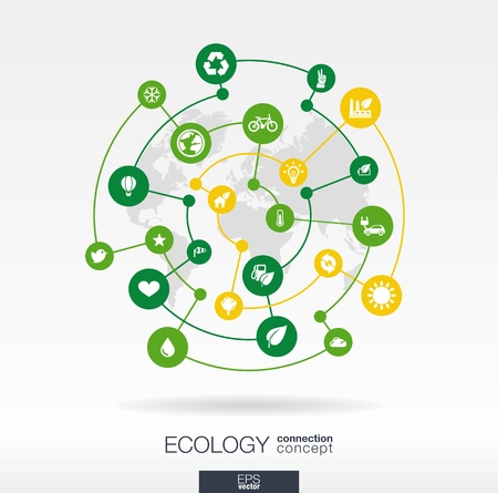 environment: Ecology connection concept. Abstract background with integrated circles and icons for eco friendly, energy, environment, green, recycle, bio and global concepts. Vector infographic illustration
