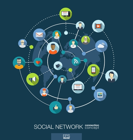 comunidad: Concepto de conexi�n a la red social. Resumen de antecedentes con los c�rculos integrados e iconos para digital, internet, medios de comunicaci�n, conectar, tecnolog�a, conceptos globales. Vector infograf�a ilustraci�n. Dise�o plano
