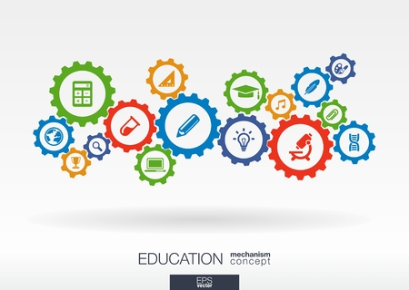 school icon: Education mechanism concept. Abstract background with connected gears and icons for elearning, knowledge, learn, analytics, network, social media and global concepts. Vector infographic illustration