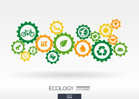 Ecology mechanism concept. Abstract background with connected gears and icons for eco friendly, energy, environment, green, recycle, bio and global concepts. Vector infographic illustration. Zdjęcie Seryjne - 31733401