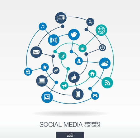 Social media connection concept. Abstract background with integrated circles and icons for digital, internet, network, connect, communicate, technology, global concepts. Vector infograp illustration Stock Illustratie