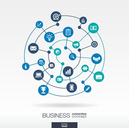 비즈니스 연결 개념. 전략, 서비스, 분석, 연구, 디지털 마케팅에 대한 통합 된 원과 아이콘 추상적 인 배경, 개념을 전달합니다. 벡터 인포 그래픽 그림