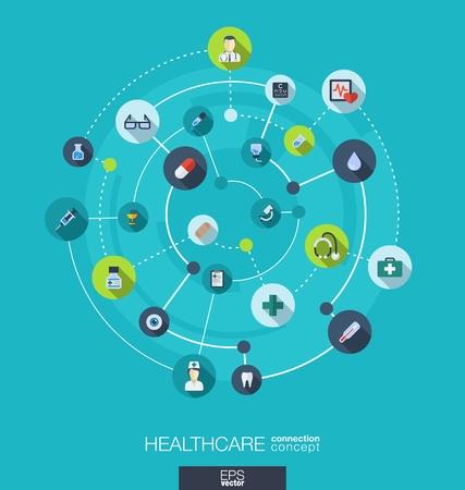 Gezondheidszorg verbinding concept. Abstracte achtergrond met geïntegreerde kringen en pictogrammen voor medisch, gezondheid, zorg, geneeskunde, netwerk en wereldwijde concepten. Vector infographic illustratie. Plat ontwerp