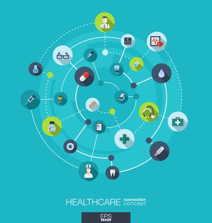 medicine icons: Healthcare connection concept. Abstract background with integrated circles and icons for medical, health, care, medicine, network and global concepts. Vector infographic illustration. Flat design Illustration