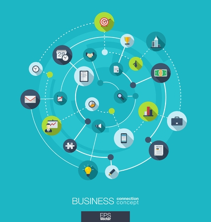 Business connection concept. Abstract background with integrated circles and icons for strategy, service, analytics, research, digital marketing concepts. Vector infographic illustration. Flat design Vector