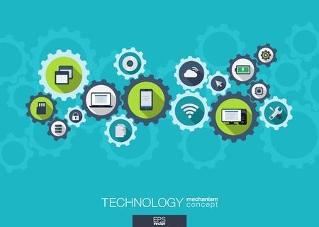 Mecanismo Concepto de la tecnología. Resumen de antecedentes con engranajes integrados e iconos para digital, internet, red, conectar, los medios sociales y conceptos globales. Vector infografía ilustración. Diseño plano