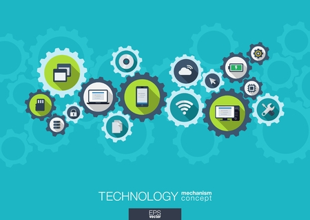 Technology mechanism concept. Abstract background with integrated gears and icons for digital, internet, network, connect, social media and global concepts. Vector infograph illustration. Flat design Illustration