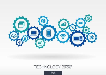 Concepto de mecanismo tecnológico. Fondo abstracto con engranajes e iconos integrados para digital, internet, red, conexión, comunicación, redes sociales y conceptos globales. Ilustración vectorial infografía