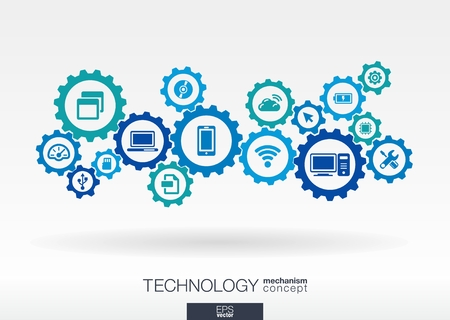 Technologie Mechanismus Konzept. Abstrakt Hintergrund mit integrierten Zahnräder und Symbole für digital, Internet, Netzwerk, Vernetzung, Kommunikation, Social Media und globalen Konzepte. Vector Infograph Collection