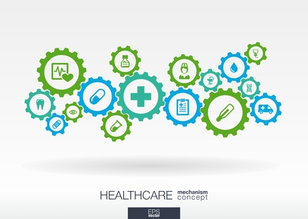 Healthcare mechanism concept. Abstract background with connected gears and icons for medical, health, care, medicine, network, social media and global concepts. Vector infographic illustration.  Vettoriali