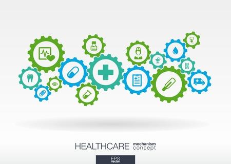 Healthcare-Mechanismus Konzept. Abstrakter Hintergrund mit Getriebe verbunden und Symbole für Medizin, Gesundheit, Pflege, Medizin, Netzwerk, Social Media und globale Konzepte. Infografik Vector Illustration. Vektorgrafik