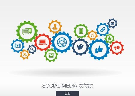 engranajes: Mecanismo Concepto social de los medios de comunicaci�n. Resumen de antecedentes con engranajes integrados e iconos para, internet, red, conectarse, comunicarse, la tecnolog�a digital, conceptos globales. Vector infograf�a ilustraci�n. Vectores