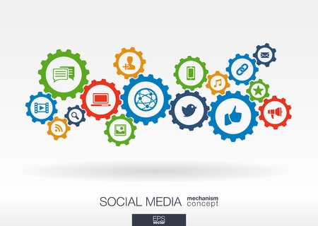 community service: Social media mechanism concept. Abstract background with integrated gears and icons for digital, internet, network, connect, communicate, technology, global concepts. Vector infographic illustration.