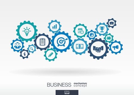 Business mechanism concept. Abstract background with connected gears and icons for strategy, service, analytics, research, seo, digital marketing, communicate concepts. Vector infographic illustration Vettoriali