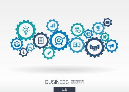 onderzoek: Zakelijke mechanisme concept. Abstracte achtergrond met aangesloten tandwielen en pictogrammen voor strategie, service, analyses, onderzoek, seo, digitale marketing, communicatie concepten. Vector infographic illustratie