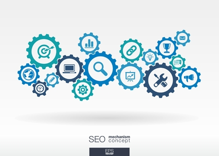 SEO mechanism concept. Abstract background with integrated gears and icons for digital, internet, network, connect, analytics, social media and global concepts. Vector infographic illustration.  Ilustrace