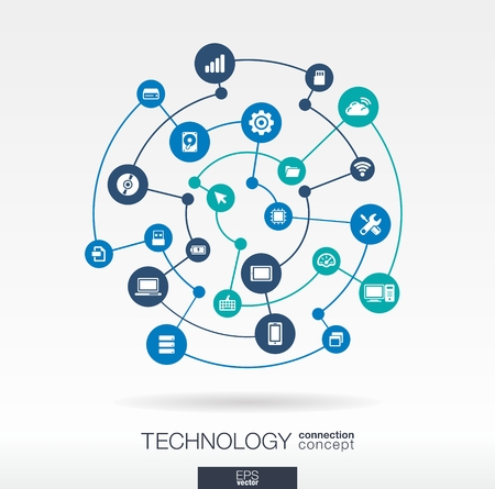 Technology connection concept. Abstract background with integrated circles and icons for digital, internet, network, connect, communicate, social media, global concepts. Vector infograph illustration Çizim
