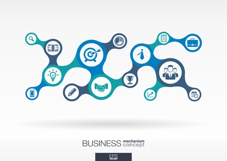 Business. Growth abstract background with connected metaball and integrated icons for strategy, service, analytics, research, digital marketing, communicate concepts. Vector infographic illustration Çizim