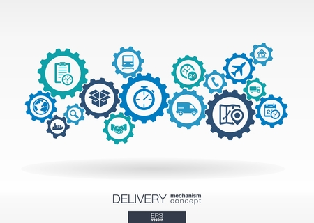 Delivery mechanism concept. Abstract background with connected gears and icons for logistic, service, shipping, distribution, transport, market, communicate concepts. Vector interactive illustration Иллюстрация