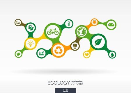 生態学。成長接続メタボールと背景を抽象化し、環境にやさしいのためのアイコン、エネルギー、環境、緑、リサイクル、バイオ、世界的な概念を