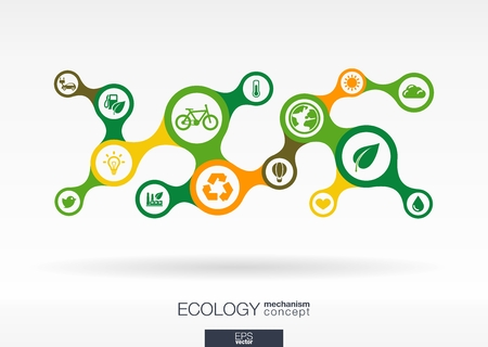 Ecology. Growth abstract background with connected metaball and integrated icons for eco friendly, energy, environment, green, recycle, bio and global concepts. Vector interactive illustration.