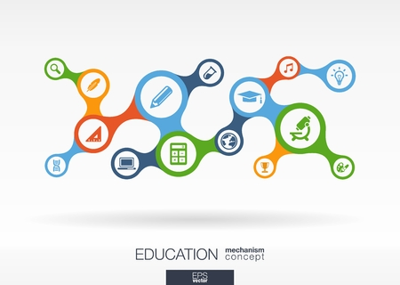 Education. Growth abstract background with connected metaball and integrated icons for elearning, knowledge, learn, analytics, network, social media and global concepts. Vector interactive illustration Ilustracja
