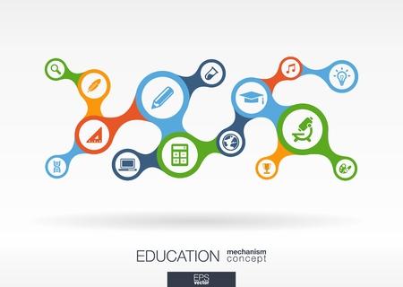 znalost: Vzdělání. Růst abstraktní pozadí s připojeným metaball a integrovaných ikon pro e-learning, poznání, učit se, analytics, sítí, sociální média a globální koncepty. Vector Interaktivní ilustrace Ilustrace