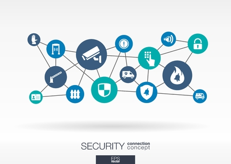 integrated: Security network. Growth abstract background with lines, circles and integrate flat icons. Connected symbols for guard, police, protection, monitoring, safety and control concepts. Vector interactive illustration