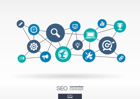SEO network. Growth abstract background with lines, circles and integrate flat icons. Connected symbols for digital, network, connect, analytics, social media and market concepts. Vector interactive illustration. Çizim