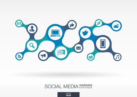 Social media. Growth abstract background with integrated metaballs and integrated icon for digital, internet, network, connect, communicate, technology, global concepts. Vector interactive illustration