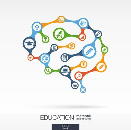Abstracte onderwijs achtergrond met aangesloten metaball en geïntegreerde kringen. Brain concept voor e-learning, leren, kennis, afstuderen, leren en webdesign. Vector interactieve afbeelding. Vector Illustratie