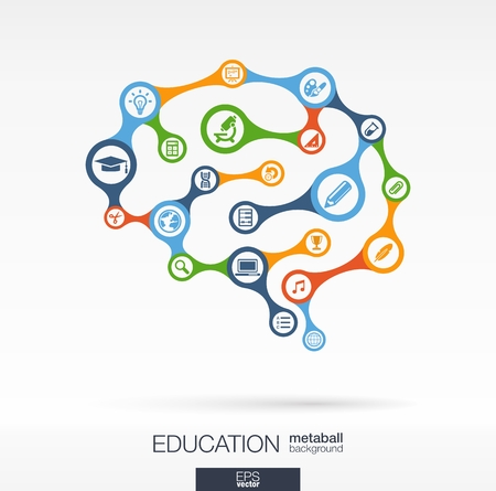 Abstract education background with connected metaball and integrated circles. Brain concept for elearning, learning, knowledge, graduation, learn and web design. Vector interactive illustration. Vettoriali