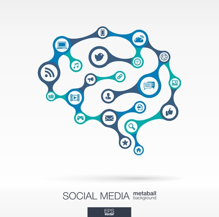 Abstract social media background, connected metaball and integrated circles. Brain concept with network, computer, technology, marketing, digital, link icon. Vector interactive illustration
