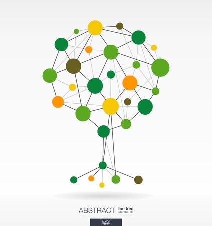 Fondo abstracto con líneas conectadas y círculos integrados. Concepto del árbol de crecimiento para la comunicación, negocios, medios de comunicación social, eco, la tecnología, la red y el diseño web. Ilustración del vector.