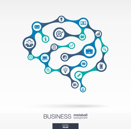 Metaball abstract background, connected circles, integrated flat icons. Brain concept for business, communication, marketing research, strategy, mission, analytics. Vector interactive illustration Vettoriali