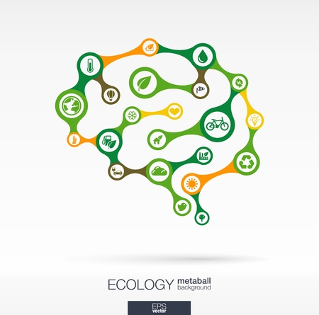 Abstract ecology background with connected metaball and integrated circles. Brain concept with eco, earth, green, recycling, nature, bicycle, sun, car and home icon. Vector interactive illustration. Vector