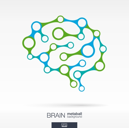brains: Abstract background with lines and integrated circles. Brain metaball for infographic, business, medical, health, healthcare, social media, technology, network and design concepts. Vector illustration.