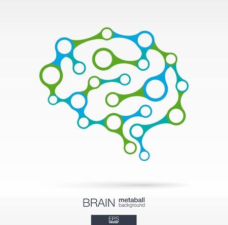 psicologia: Fondo abstracto con l�neas y c�rculos integrados. Metaball cerebro por infograf�a, negocio, m�dico, salud, cuidado de la salud, los medios sociales, la tecnolog�a, la red y los conceptos de dise�o. Ilustraci�n del vector.