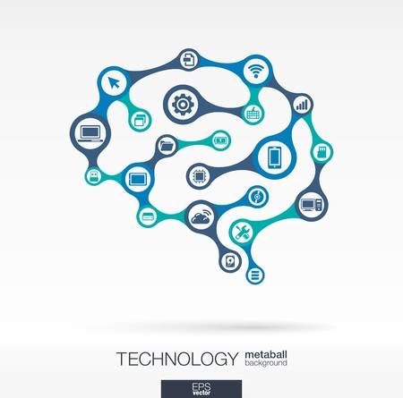 Abstract technology background with connected metaball and integrated circles. Brain concept (circuit) with network, computer, technology, laptop, digital, computing, and pad icons. Vector interactive illustration