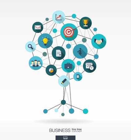 consulting: Abstract background with lines, connected circles and integrated flat icons. Growth tree concept for business, communication, marketing research, strategy, mission, analytics and web design. Vector interactive illustration.