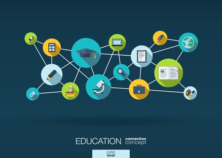 Education network. Growth abstract background with lines, circles and integrate flat icons. Connected symbols for elearning, knowledge, learn and global concepts. Vector interactive illustration Vettoriali