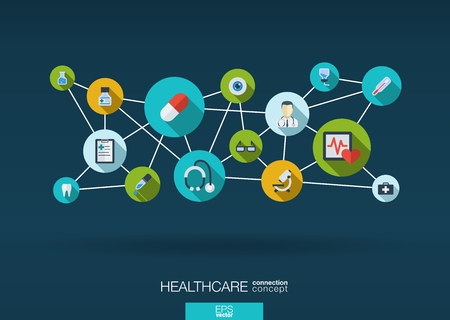 integrated: Abstract medicine background with lines, circles and integrate flat icons. Infographic concept with medical, health, healthcare, nurse, DNA, pills connected symbols. Vector interactive illustration.