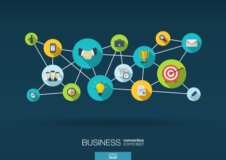 Business network. Growth background with lines, circles and integrate flat icons. Connected symbols for strategy, service, analytics, research, digital marketing, communicate concepts. Vector interactive illustration. Çizim