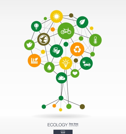 car leaf: Abstract ecology background with lines, connected circles and integrated flat icons. Growth tree concept with eco, earth, green, recycling, nature, bicycle, sun, car and home icon. Vector interactive illustration.