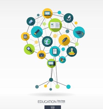 교육: 선, 연결 원과 통합 된 평면 아이콘 추상 교육 배경. 벨, 학교, 과학, CALC, 지리학, 생물학, 연필, 현미경 아이콘으로 성장 트리 개념. 벡터 대화 형입니다.